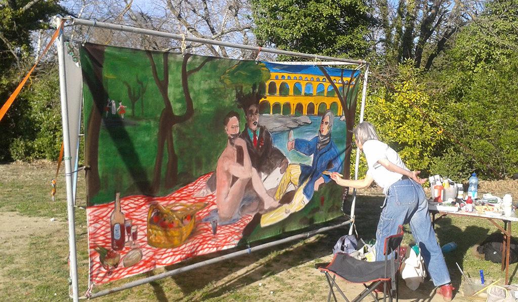 peintre au Pont du gard