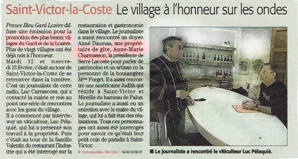 Emission France Bleu les plus beaux villages du Gard Lozère